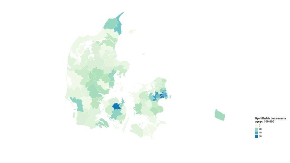 Så mange coronasmittede er der i din kommune